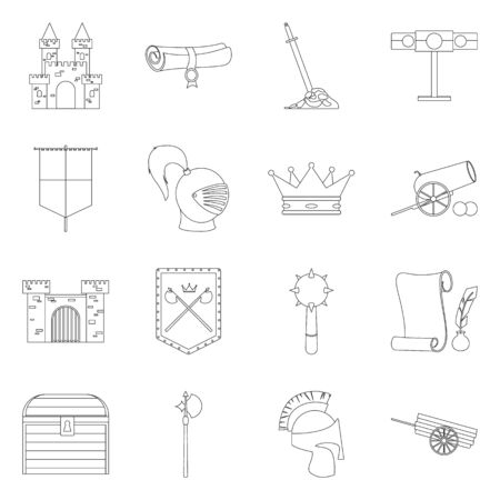 Vector illustration of heritage and ancient icon. Set of heritage and tournament vector icon for stock. Standard-Bild - 129228426