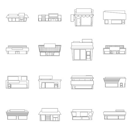 Isolated object of store and market. Set of store and business vector icon for stock.