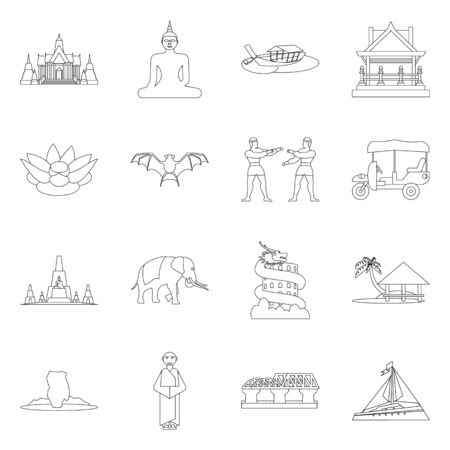 Vector illustration of landmark and culture sign. Collection of landmark and tourism vector icon for stock.