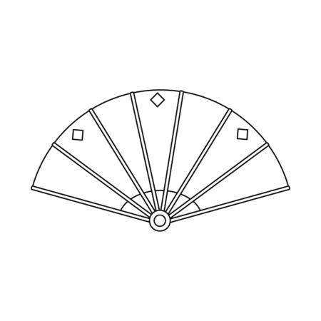 Vector illustration of fan and paper symbol. Collection of fan and silk stock symbol for web.