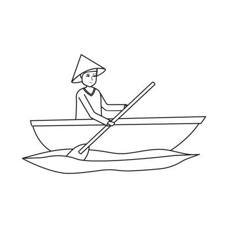 Vector illustration of boat and vietnamese icon. Set of boat and hat vector icon for stock. Illusztráció