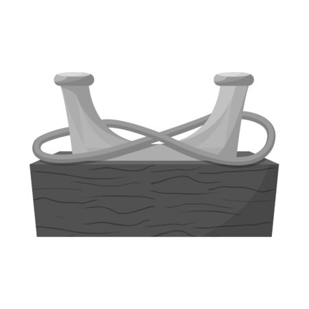 Vector illustration of equipment and moored. Set of equipment and bollard vector icon for stock. Vettoriali