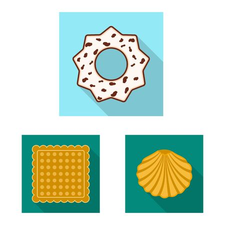 Vector design of biscuit and bake. Collection of biscuit and chocolate stock symbol for web.