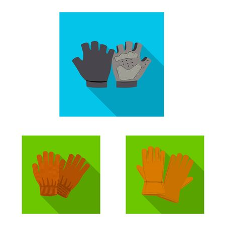 Vector illustration of glove and winter symbol. Set of glove and equipment stock vector illustration.