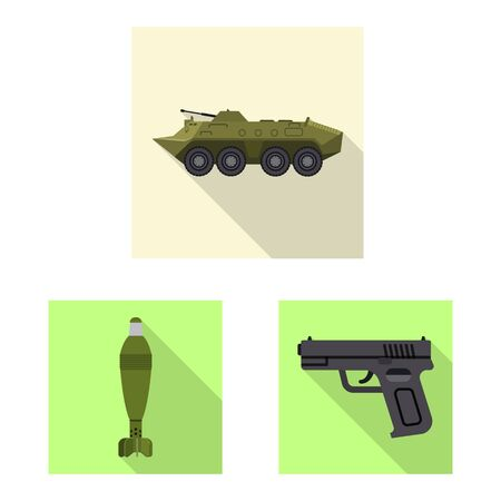 Vector illustration of weapon and gun symbol. Collection of weapon and army vector icon for stock.