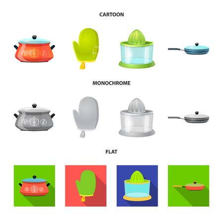 Isolated object of kitchen and cook. Set of kitchen and appliance stock vector illustration. Stock Illustratie