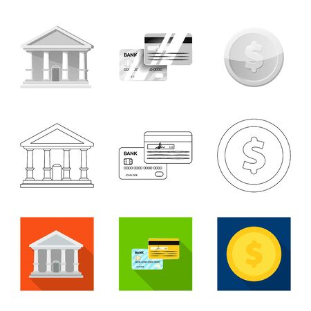 Vector illustration of bank and money logo. Set of bank and bill stock vector illustration. 일러스트