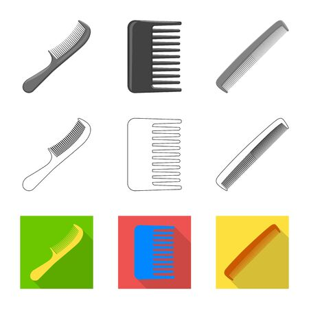 Vector design of brush and hair. Collection of brush and hairbrush stock symbol for web.