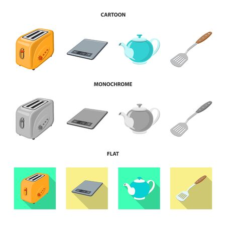 Isolated object of kitchen and cook symbol. Collection of kitchen and appliance stock vector illustration. Иллюстрация