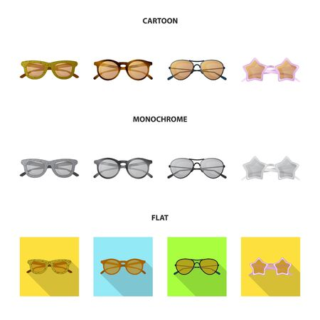 Vector design of glasses and sunglasses icon. Collection of glasses and accessory stock symbol for web. Stock Illustratie