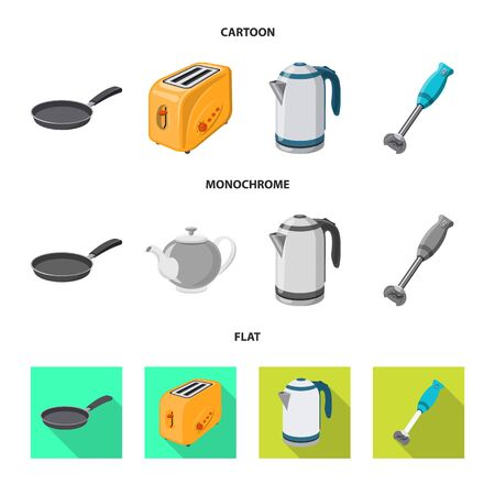 Vector illustration of kitchen and cook. Set of kitchen and appliance stock vector illustration.