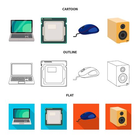 Vector design of laptop and device icon. Set of laptop and server stock symbol for web.