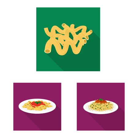 Vector illustration of pasta and carbohydrate sign. Set of pasta and macaroni stock symbol for web. 일러스트