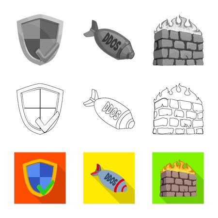 Vector illustration of virus and secure icon. Collection of virus and cyber vector icon for stock.