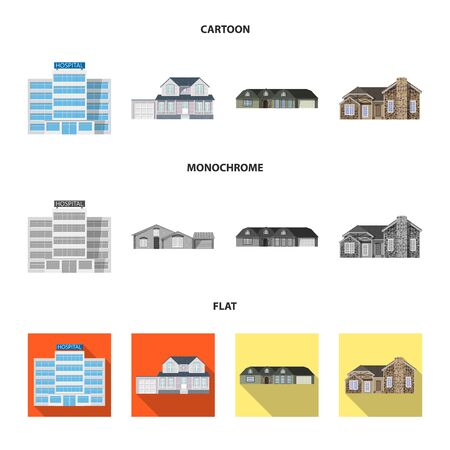 Vector design of building and front. Set of building and roof vector icon for stock. Фото со стока - 129267866