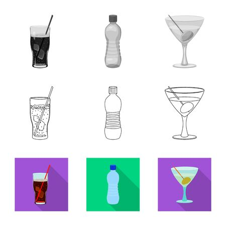Isolated object of drink and bar. Collection of drink and party stock symbol for web. Ilustracja