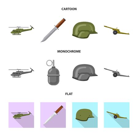 Isolated object of weapon and gun. Collection of weapon and army stock vector illustration. Illustration