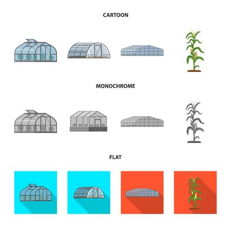 Vector illustration of greenhouse and plant icon. Set of greenhouse and garden stock vector illustration. Stock Illustratie