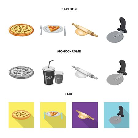 Vector illustration of pizza and food. Set of pizza and italy stock symbol for web.