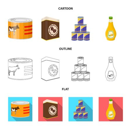 Isolated object of can and food. Collection of can and package stock symbol for web.