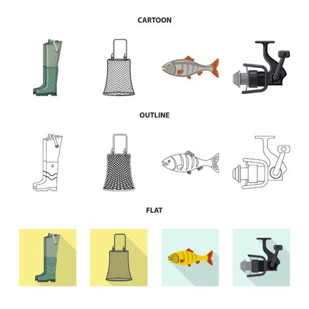 Vector design of fish and fishing  . Collection of fish and equipment stock vector illustration.