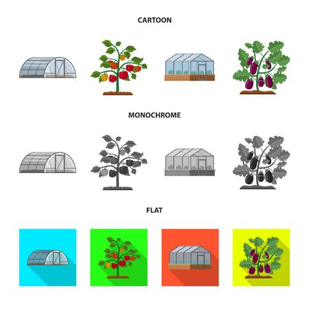 Vector design of greenhouse and plant sign. Set of greenhouse and garden stock symbol for web. Stock Illustratie