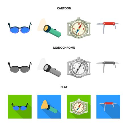 Vector design of mountaineering and peak  . Collection of mountaineering and camp vector icon for stock. 일러스트