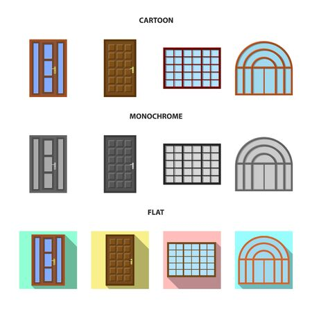 Isolated object of door and front icon. Set of door and wooden stock symbol for web.