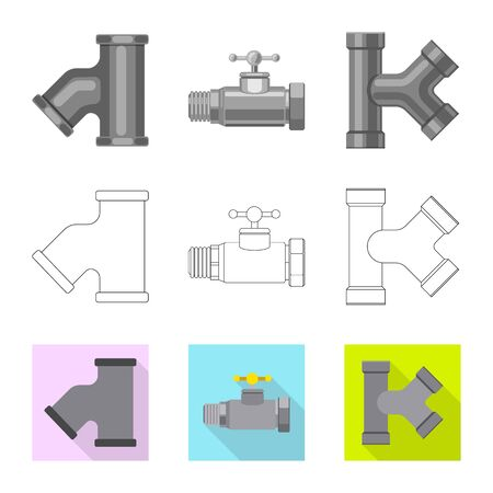 Vector illustration of pipe and tube . Set of pipe and pipeline vector icon for stock. 向量圖像