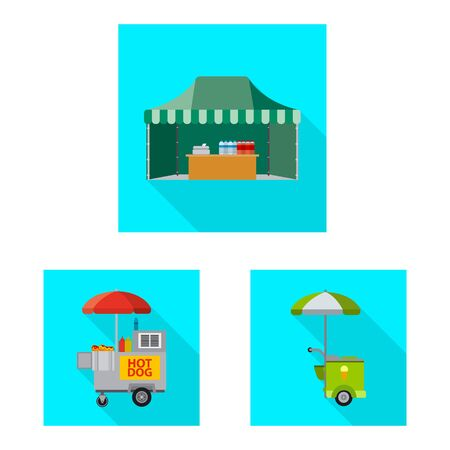 Vector illustration of market and exterior . Set of market and food stock vector illustration.