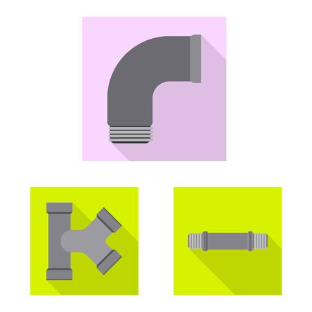 Vector design of pipe and tube sign. Set of pipe and pipeline stock vector illustration.
