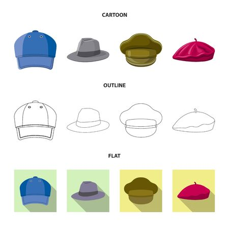 Vector illustration of headgear and cap sign. Collection of headgear and accessory vector icon for stock.