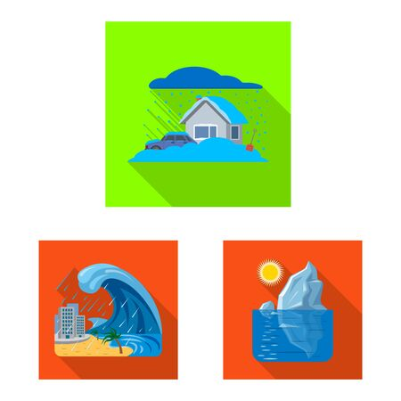 Isolated object of natural and disaster. Collection of natural and risk vector icon for stock. Stock Vector - 129385544