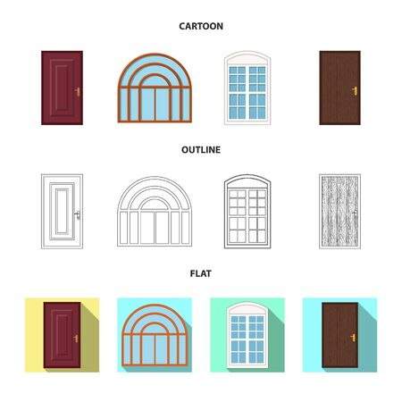 Isolated object of door and front. Collection of door and wooden stock vector illustration.  イラスト・ベクター素材