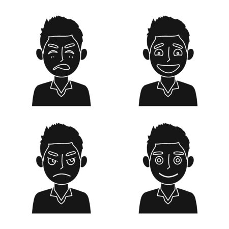 Isolated object of face and boy sign. Collection of face and young stock vector illustration.