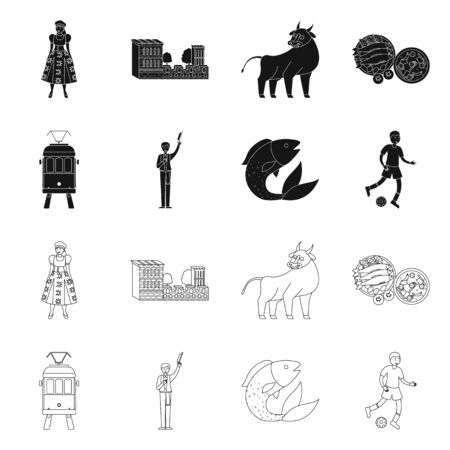 Vector illustration of and historic. Collection of and country stock symbol for web.