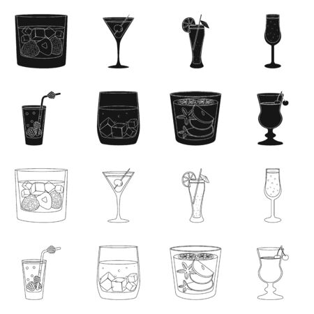 Vector design of liquor and restaurant icon. Collection of liquor and ingredient vector icon for stock.