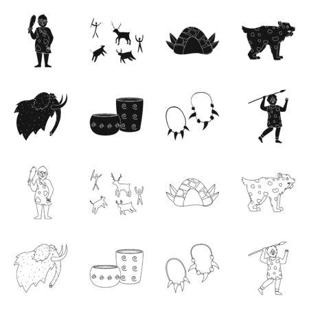 Vector design of evolution and neolithic sign. Set of evolution and primeval stock symbol for web. Illustration