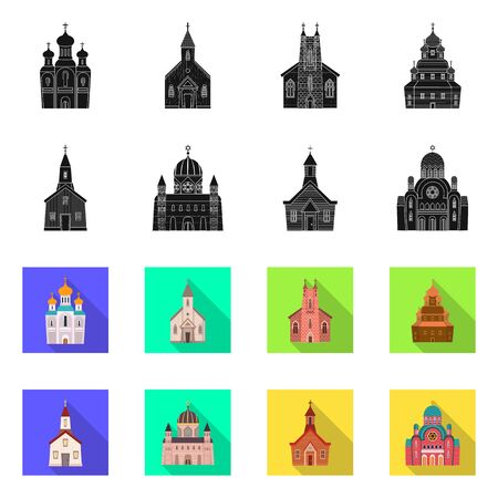 Isolated object of cult and temple sign. Collection of cult and parish stock vector illustration. Иллюстрация