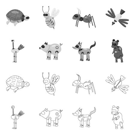 Vector design of toy and science  . Collection of toy and toy stock symbol for web.