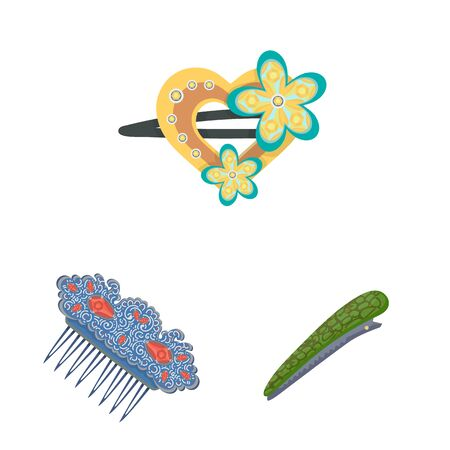 Vector design of barrette and hair icon. Collection of barrette and accessories vector icon for stock.