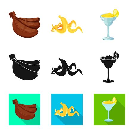 Vector illustration of natural and vegetarian sign. Set of natural and eating stock symbol for web. Çizim