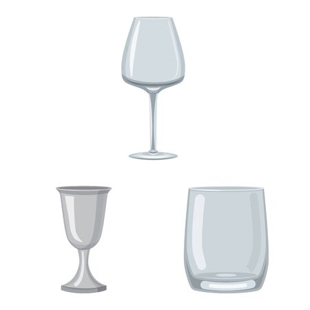 Vector design of dishes and container icon. Set of dishes and glassware stock symbol for web.  イラスト・ベクター素材