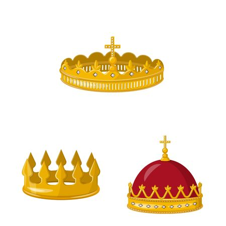 Isolated object of monarchy and gold symbol. Collection of monarchy and heraldic vector icon for stock. Ilustração