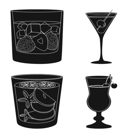 Vector illustration of club and ingredient symbol. Set of club and drink vector icon for stock. Stok Fotoğraf - 129448179