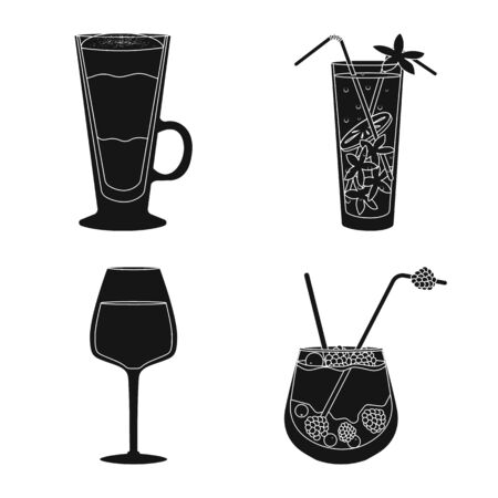 Vector illustration of club and ingredient symbol. Collection of club and drink vector icon for stock.  イラスト・ベクター素材