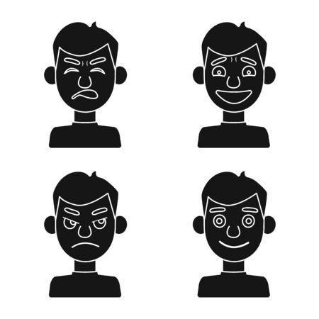 Vector illustration of face and boy symbol. Set of face and young vector icon for stock. Illustration