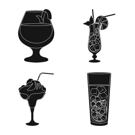 Vector illustration of club and ingredient icon. Collection of club and drink stock vector illustration.