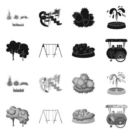 Vector illustration of urban and street symbol. Collection of urban and relaxation stock symbol for web. 写真素材 - 129286963