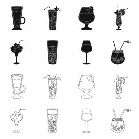 Vector illustration of liquor and restaurant icon. Collection of liquor and ingredient stock vector illustration. Stok Fotoğraf - 129286967